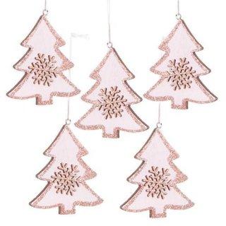 5 Weihnachtsanhänger Baum aus Holz rosa pink mit Glitzer