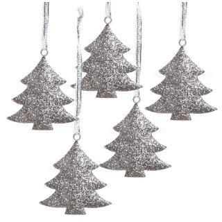 Weihnachtsbaum Anhänger in silber glitzernd  - 7 cm - aus Metall- Weihnachtsdeko zum Aufhängen