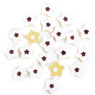 18 kleine Streuteile Plätzchen mit Klebepunkt Weihnachten - Weihnachtsdeko zum Streuen 2,5 cm