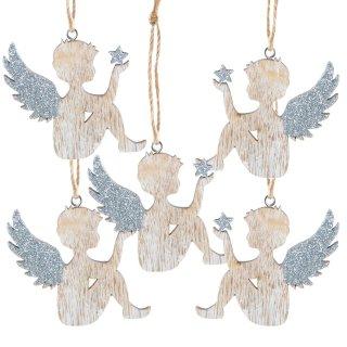 5 Holzengel mit Schnur zum Aufhängen - Engelanhänger Natur braun Silber 7 cm