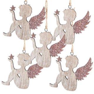 5 Engel aus Holz mit Schnur zum Aufhängen - natur rosa 7 cm