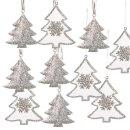 10 Christbaumanhänger Baum Silber weiß mit...