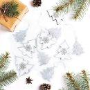 10 Christbaumanhänger Baum Silber weiß mit Glitzer - 5 x Holz + 5 x Metallanhänger