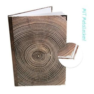 XXL Notizbuch A4 blanko mit leeren Seiten dunkelbraun JAHRESRINGE Holz - mit Metallecken
