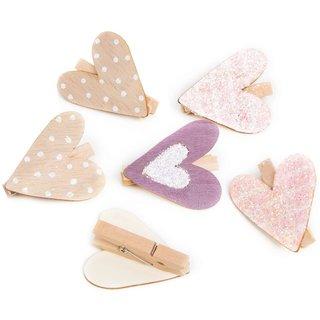 6 Dekoklammern mit Herzen rosa lila beige - Herzklammer aus Holz 4,5 cm - Zierklammer