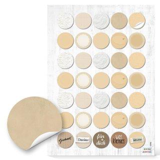 Etiketten zum Beschriften - rund beige weiß natur - 3 cm Markierungspunkte neutral