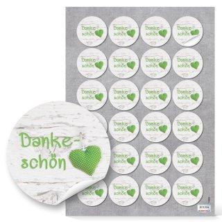 Dankesaufkleber rund - 4 cm - weiß grau mit grünem Herz Hochzeit Kommunion Geburtstagspräsent 24 Aufkleber / 1 Bogen