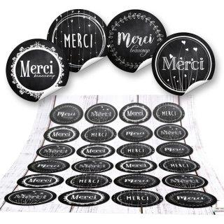 Danke Sticker - 4 cm - rund schwarz weiß Vintage-Stil Tafelkreidelook mit Text Merci Gastpräsent