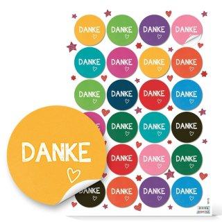 Danke Aufkleber rund - 4 cm - verschiedene Farben Firmung Jubiläum Verzierung Kundenpräsent