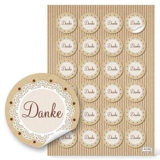 Sticker Danke rund - 4 cm - Vintage-Stil natur beige Verpackung Präsentverpackung Scrapbooking