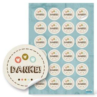 Etiketten Danke rund - 4 cm - beige bunt pastellfarben Gastgeschenk Verschönerung Kartengestaltung