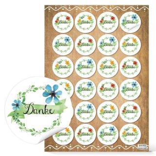Dankesaufkleber - 4 cm - rund bunt weiß grün - Danke Sticker in floralem Design