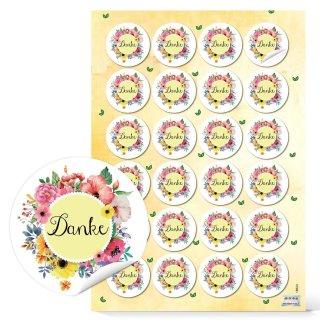 Danke Etiketten rund - 4 cm - bunt gelb rosa Floralmuster Dankeskarten Mitgebsel Kommunion
