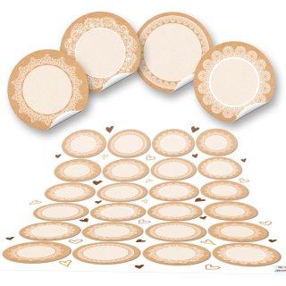 Leeretiketten - 4 cm - beschreibbar rund beige natur braun Spitze Gläserbeschriftung Gastgeschenke Feste