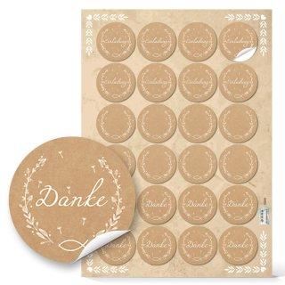 Etiketten Set - Blankoaufkleber + Danke + Einladung - Kraftpapier-Optik braun mit Fisch-Motiv