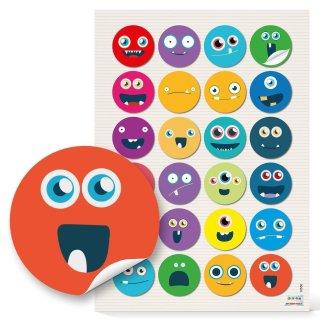 Sticker - 4 cm - rund bunt rot gelb grün blau mit Gesichtern Kindergeburtstag Geschenkverzierung