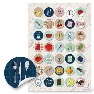 Küchenetiketten - 3 cm - rund farbenfroh retrolook Küchenmotive Kochbücher Rezeptbücher Verschönerung