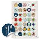 Küchenetiketten - 3 cm - rund farbenfroh retrolook...