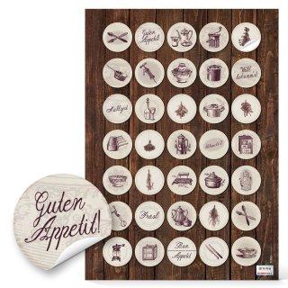 Etiketten Küche rund - 3 cm - braun beige Retrostil Küchendesign Gewürzgläser Rezeptmappen