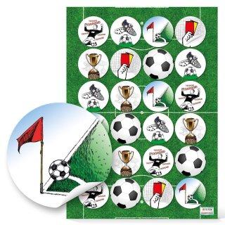 Fußballsticker - 4 cm - rund farbenreich Fußballmotive Europameisterschaft Fußballparty Kicken