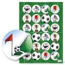 Fußballsticker - 4 cm - rund farbenreich...