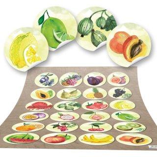Obst Aufkleber rund 4 cm - bunte Küchenaufkleber mit Obstmotiv
