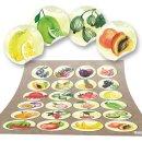 Obst Aufkleber rund 4 cm - bunte Küchenaufkleber mit...