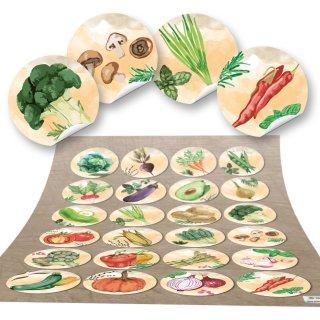 Küchensticker rund - 4 cm - Gemüse Motiv Aquarelllook mehrfarbig Zierde Kochbuchverzierung