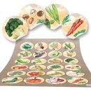 Küchensticker rund - 4 cm - Gemüse Motiv...