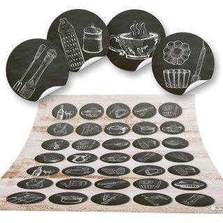 Aufkleber Küche  - 3 cm - rund Küchenutensilien Motiv rund schwarz weiß nostalgisch vintage