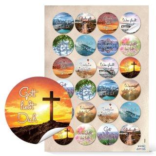 Religionsaufkleber - 4 cm - rund verschiedenfarbig Zitate Glaube Religion Kommunion Firmung