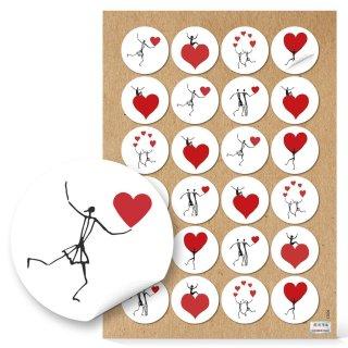 Herzmensch Aufkleber - 4 cm rund - weiß rot schwarz mit Herz Tischkarten Verzieren Verpackung