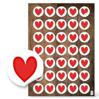 Herzetiketten - 3,2 cm rund - weiß mit rotem Herz Valentinstag Hochzeit Gastgeschenk Präsent