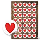 Herzetiketten - 3,2 cm rund - weiß mit rotem Herz...