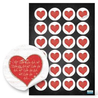 Herzsticker - 4 cm rund- weiß mit rotem Herz und Text Präsentverpackung Give-Away Geschenk