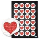 Herzsticker - 4 cm rund- weiß mit rotem Herz und...