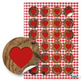 Herzaufkleber rund 4 cm - rotes Herz auf Holzoptik - Papieraufkleber als Verzierung für Geschenke