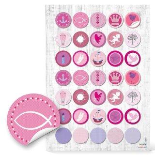 Sticker - 3 cm rund - rosa pink mit verschiedenen Aufdrucken Taufe Firmung Kindergeburtstag