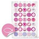 Sticker - 3 cm rund - rosa pink mit verschiedenen...