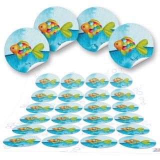 Klebeetiketten - 4 cm rund - bunt in maritimer Optik mit Fischen Geschenkaufkleber Tischdekoration