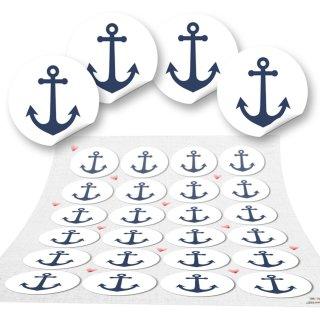 Geschenkaufkleber mit Anker blau weiß - 4 cm rund - Ankeraufkleber als maritime Deko