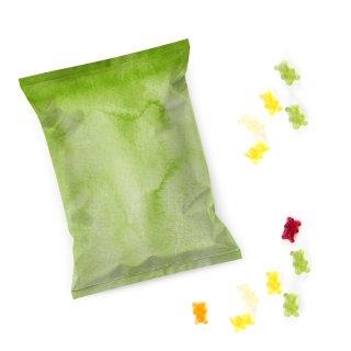 Give-Away Fruchtgummi Tütchen - Mini Gummibärchen Tüten grün blanko zum Beschriften