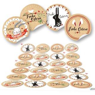 Klebeetiketten Ostern - 4 cm rund - braun verschiedene Designs Osterdeko Verpackungen verschönern