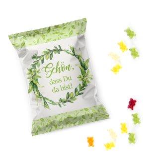 Gummibärchen Päckchen grün weiß floral Schön, dass du da bist - Hochzeitsdeko Süßigkeit