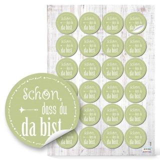 Sticker Schön dass du da bist  Sticker - 4 cm rund - grün weiß Taufe Kommunion Scrapbooking