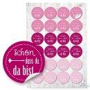 Sticker - 4 cm rund - rosa pink mit Text Schön dass...