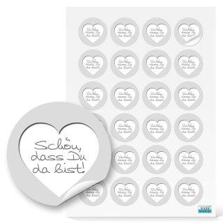 Sticker shabby grau weißes Herz Schön dass du da bist - 4 cm rund - Give-Aways Verzierung