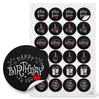 Geburtstag Geschenkaufkleber im Kreidetafel Look - 4 cm, rund, schwarz weiß rot