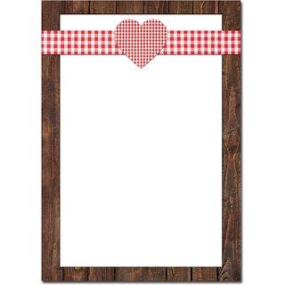 Briefpapier rustikal rot weiß braun mit Herz 100g Schreibpapier DIN A4 Bayern bayerisch