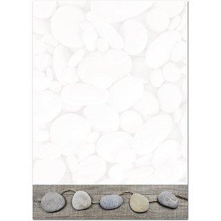 Briefpapier Druckerpapier DIN A4 weiß grau mit Steinen - Motivpapier zum Basteln & Schreiben